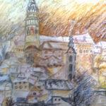 Český Krumlov | akvarel pastel