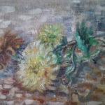 Chryzantémy | olej na hrubém plátně