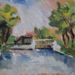 Hostomický rybník | tempera , skica