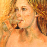 Pijící dívka | olej na plátně