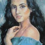 Dívka v modrém | olej